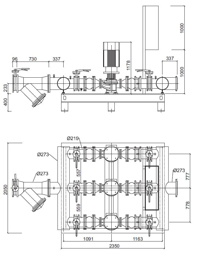 Габаритные размеры гидромодуля YMHK-D-I-H-6B