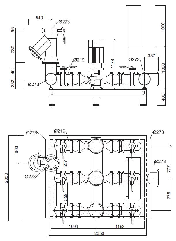 Габаритные размеры гидромодуля YMHK-D-I-V-6B