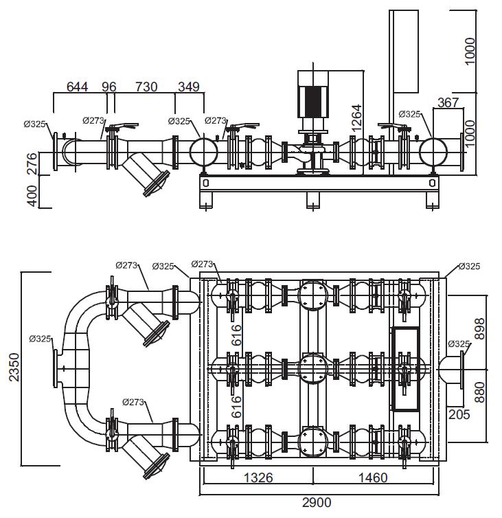 Габаритные размеры гидромодуля YMHK-D-I-HH-7C