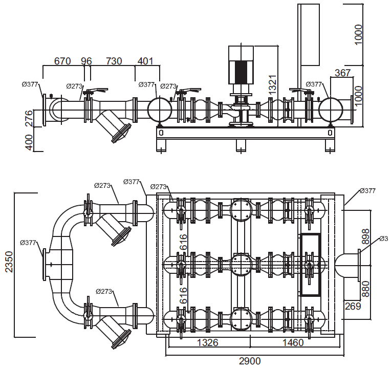 Габаритные размеры гидромодуля YMHK-D-I-HH-7D