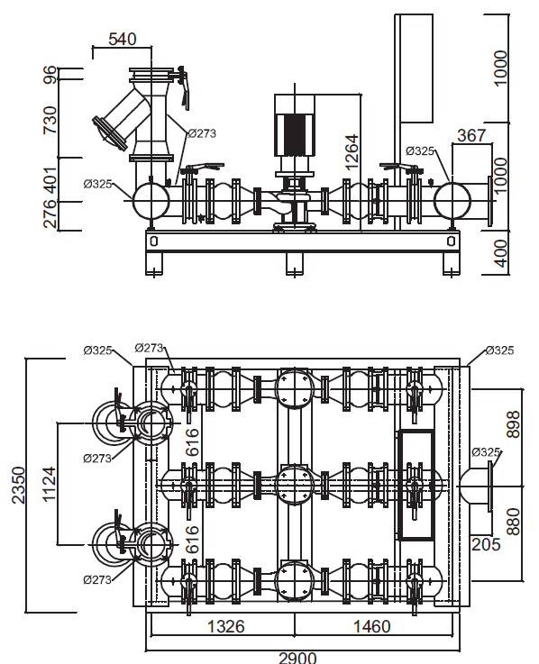 Габаритные размеры гидромодуля YMHK-D-I-V-7C