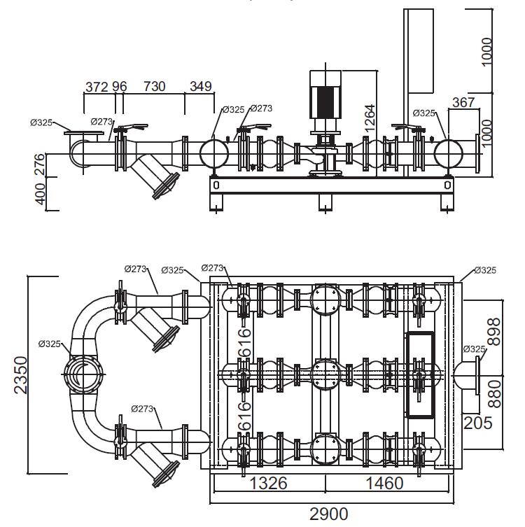 Габаритные размеры гидромодуля YMHK-D-I-HV-7C