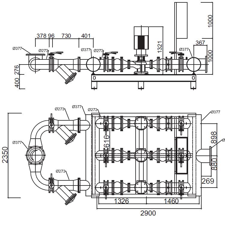 Габаритные размеры гидромодуля YMHK-D-I-HV-7D